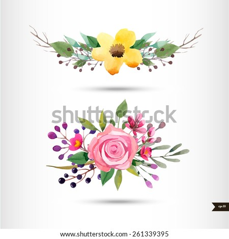 Watercolor flowers with foliage and branch.Vector illustration - stock vector
