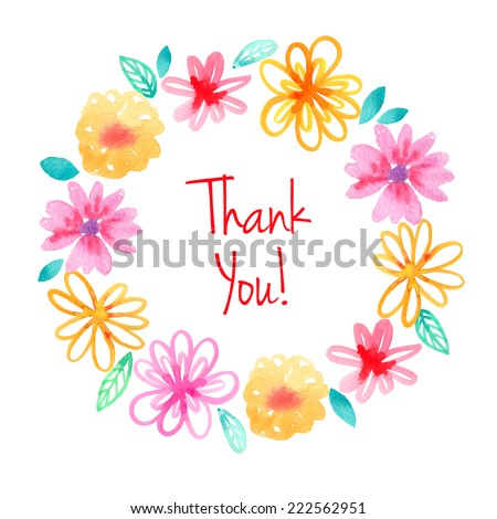 "Watercolor flowers wreath. Vector ""thank you"" card template. - stock vector"