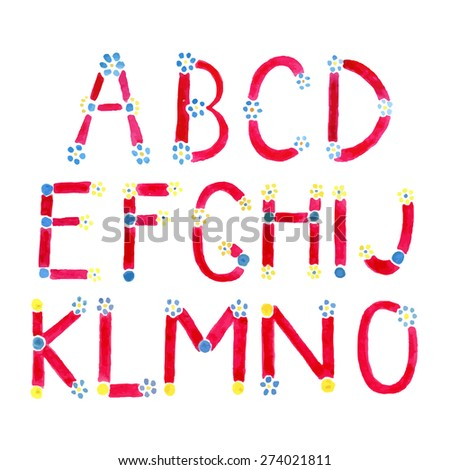 Watercolor font. Hand drawn alphabet . Watercolor letters decorated with small flowers. Letters A-O in vector - stock vector