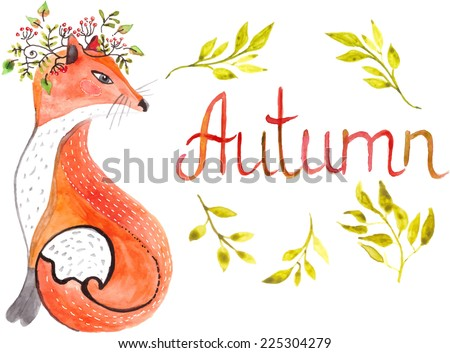 Watercolor fox and leaves and text - autumn - stock vector