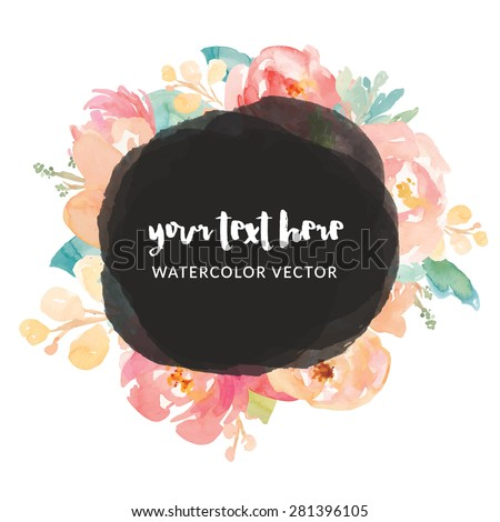 Watercolor Frame Flower Vector. Watercolor Vector Frame. Vector Watercolour Frame. Watercolor Flower Frame Vector - stock vector