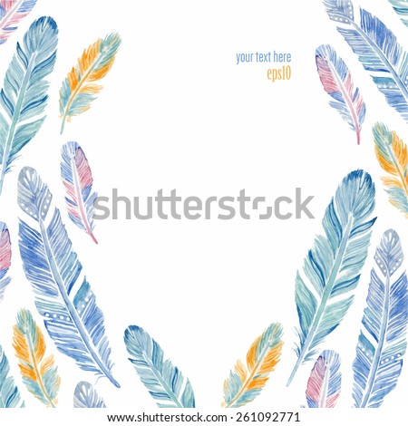 Watercolor frame with feathers. Vector illustration. - stock vector
