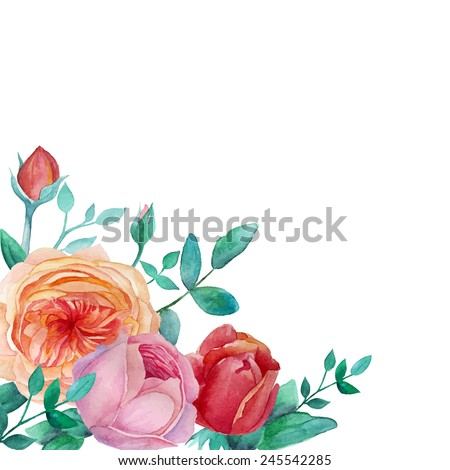 Watercolor garden roses frame. Vintage background with leaves, english roses, branches. Vector hand drawn illustration - stock vector