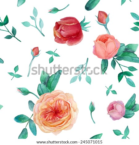 Watercolor garden roses seamless pattern. Vintage texture with leaves, english roses, branches. Vector hand drawn background - stock vector