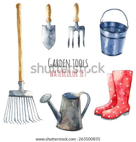 Watercolor garden tools set. - stock vector