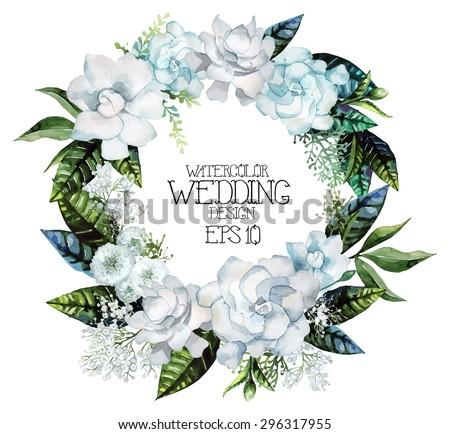 Watercolor gardenia and gypsophila wreath. Vector wedding design - stock vector