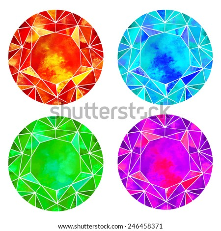 Watercolor gems, jewel stone, diamond, crystal set closeup isolated on a white background - stock vector