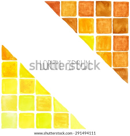 Watercolor geometric abstract background,pattern.Colorful modern texture.Triangle,rhombus,square tile,corner.Natural Yellow ,brown ,warm colors.Wallpaper,backdrop mosaic. - stock vector
