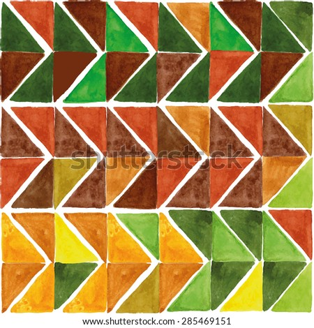 Watercolor geometric abstract seamless pattern, triangle tile background.Colorful modern texture.Natural Yellow,brown ,green colors.Wallpaper,backdrop,fabric,mosaic. - stock vector