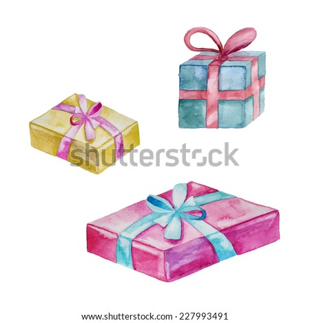Watercolor gift box set. Greeting hand drawn illustration in vector.