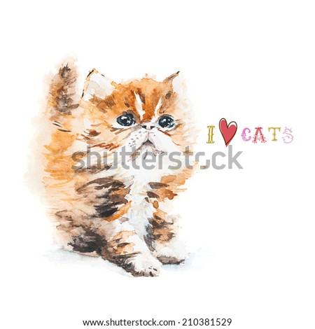 Watercolor ginger kitten. Greeting card. Vector illustration. - stock vector