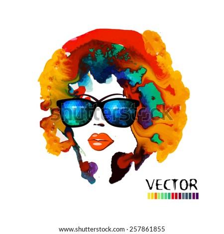 Watercolor girl face in sunglasses. Vector - stock vector