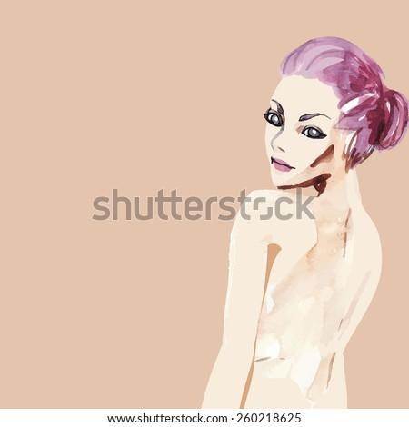 Watercolor girl skin, vector - stock vector