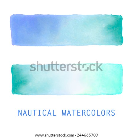 Watercolor gradient banners set. Hand drawn abstract art. Soft pastel nautical colors of the sea. Creative design elements for website, printables, scrapbooking and more. - stock vector