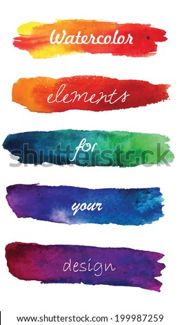 Watercolor gradient stripes  in vibrant colors. Watercolor wet stains isolated on white. Watercolor gradient hand painted illustration for design. - stock vector