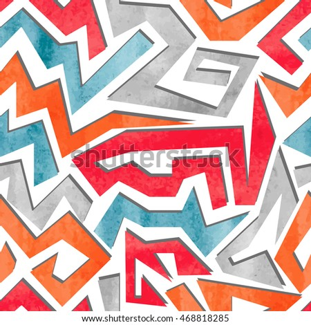 Watercolor graffiti colorful seamless pattern. Vector geometric abstract background.