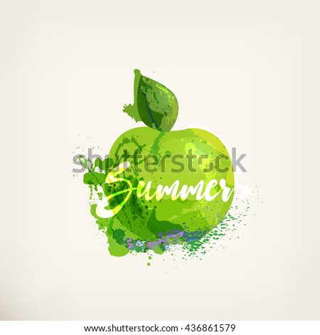 Watercolor green apple with lettering. Apples ink painting. Sweet fruit. Colorful paint blots and stains. Hand drawn concept for your logo, farmers market, organic food, package design, herbal tea - stock vector