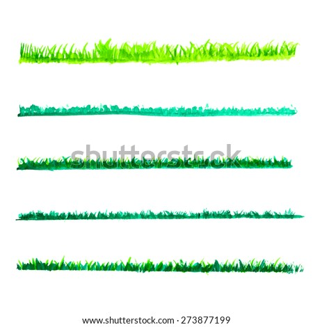 watercolor Green grass lines set, vector illustration - stock vector