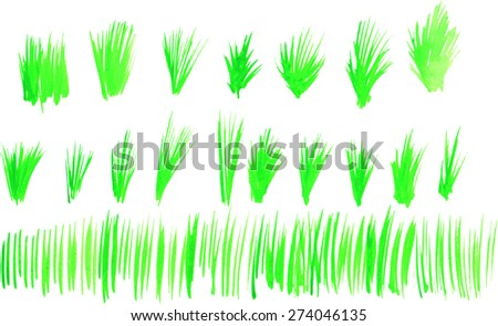 Watercolor green grass. vector. - stock vector