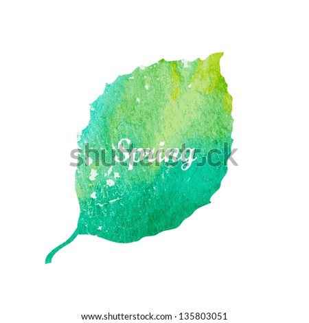 Watercolor green leaf design element. Vector illustration - stock vector