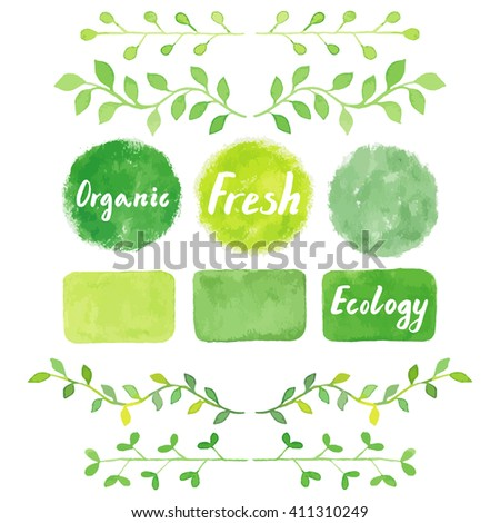 Watercolor green logos set, ribbons, painting spots, splashes, badges, squares. Sign label, textured emblem. Bio product, eco friendly, farm fresh, raw food, homegrown product. - stock vector