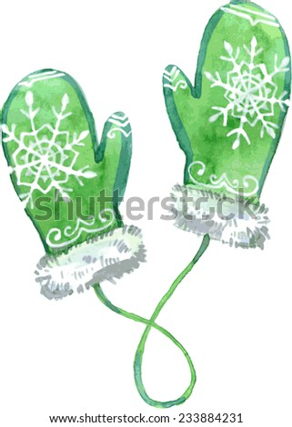 Watercolor green mittens. Vector illustration. - stock vector