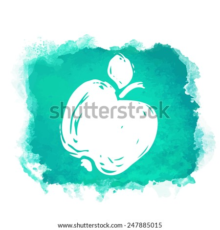 Watercolor green square paint stain with splash and fruit apple closeup white silhouette. Natural icon isolated on white background. Abstract art. Logo design  - stock vector