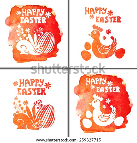 Watercolor greeting card .Easter rabbit, basket with eggs. Silhouettes  colored watercolor stamps.Vector background. Hand drawing painting art - stock vector
