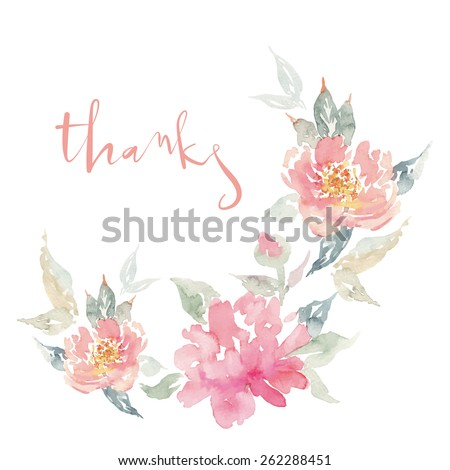 Watercolor greeting card flowers. Handmade. Congratulations. - stock vector