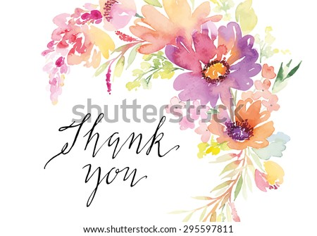 Watercolor greeting card flowers handmade thank stock vector watercolor greeting card flowers handmade thank you m4hsunfo