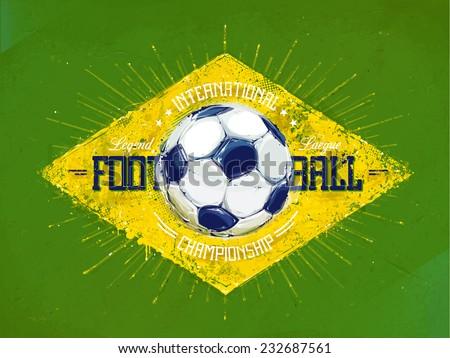 Watercolor grunge football emblem. Vector illustration. - stock vector