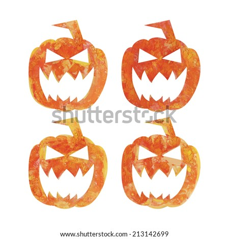Watercolor Halloween's pumpkins - stock vector
