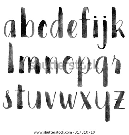 Watercolor hand drawn alphabet. Brush painted letters. Vector illustration.  - stock vector