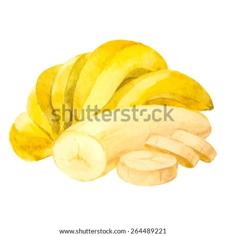 Watercolor hand drawn banana. Vector fruit icon isolated on white background. - stock vector