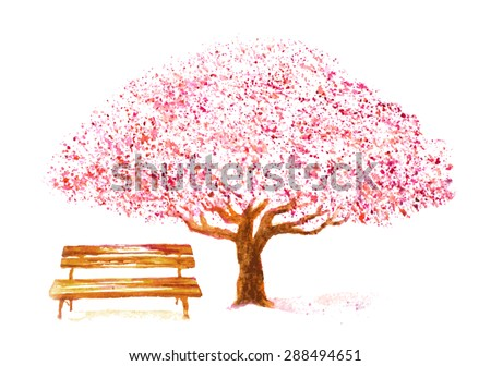 watercolor hand drawn cherry tree and bench on white. vector