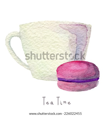 Watercolor hand drawn cup of tee or coffee with macaroon. Eps10 - stock vector