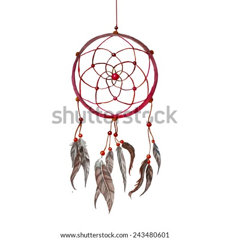 Watercolor hand drawn Dreamcatcher background. Tribal red dreamcatcher with bird feathers and beads. Vector vintage illustration - stock vector