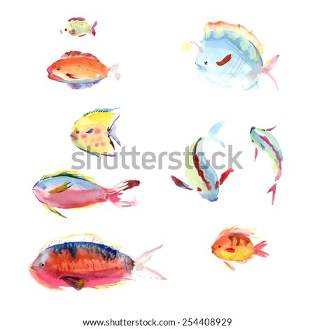 Watercolor hand drawn fish collection isolated on white background. Watercolor hand drawn fish collection isolated on white background. Watercolor hand drawn fish set isolated on white background.  - stock vector