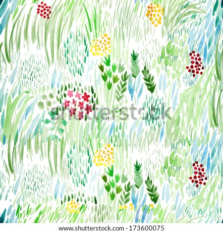 Watercolor hand-drawn green fresh floral summer spring vector pattern design