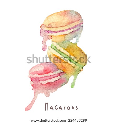 Watercolor hand drawn macaroons. Eps10 - stock vector