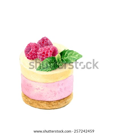 Watercolor Hand Drawn Raspberry Cupcake. Vector Illustration - stock vector