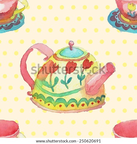 Watercolor hand drawn stylized yellow dotted pot, saucer and mug decoration. Vector aqua color dishes isolated patterns set seamless background texture. - stock vector