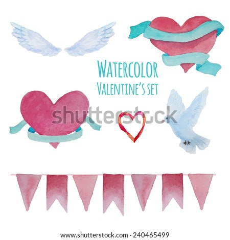 Watercolor hand drawn Valentine's day set. Isolated romantic objects: hearts with ribbons, wings, dove and pink party garland - stock vector