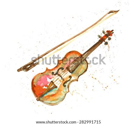 watercolor hand drawn violin - stock vector