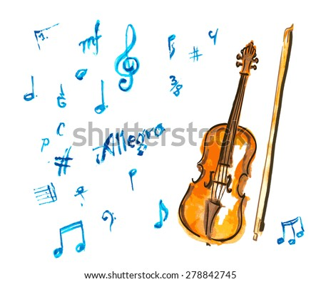 watercolor hand drawn violin and musical notes - stock vector