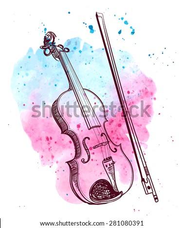 watercolor hand drawn violin with splash - stock vector