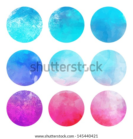 Watercolor hand painted circle shape design elements - stock vector