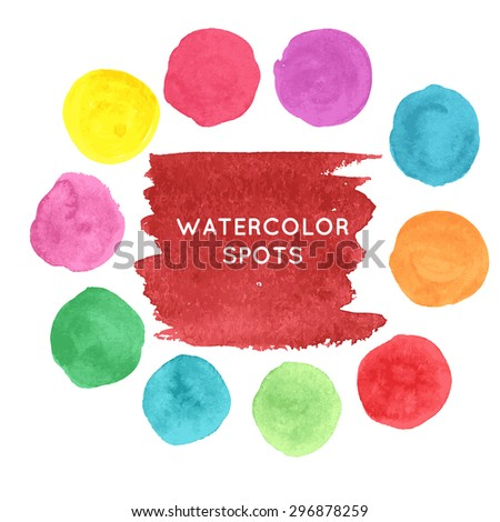 Watercolor hand painted spots set, vector illustration