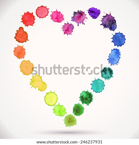 Watercolor hand painted vector circle round heart isolated on a white background. Colorful template for your design. Concept - love, relationship, art, painting - stock vector