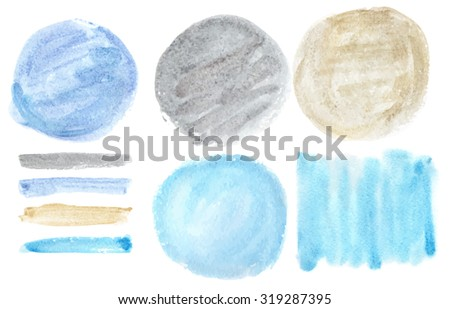 Watercolor hand painting art texture, brushes, splash background, circle design elements.Isolated Vector. Cyan,gold,grey, silver colors.Beautiful Artistic blur stains.Invitation card template - stock vector